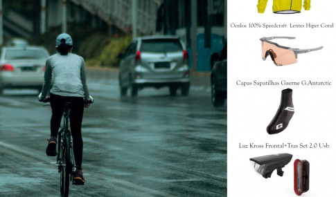 cyclist pedaling in rain