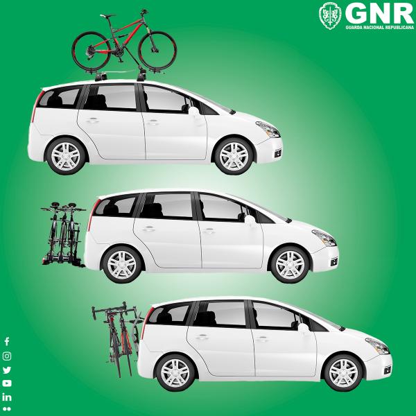 ilustração de como se deve transportar uma bicicleta num carro