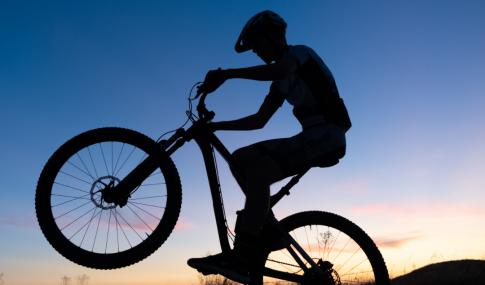 MTB cyclist jumping