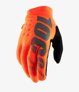100% Brisker Gloves Orange / Black w / Fingers