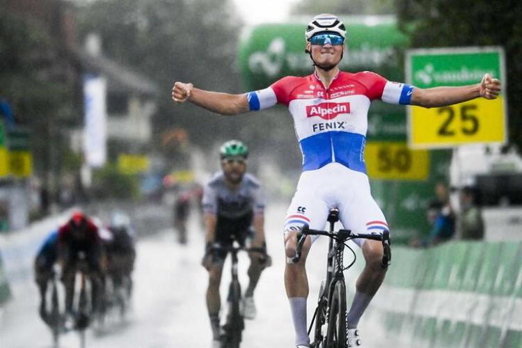Mathieu Van der Poel winning the Tour of Switzerland