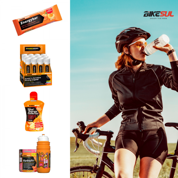cycling supplements and cyclist girl drinking water