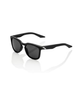 100% Hudson Black Glasses with Smoke Lenses